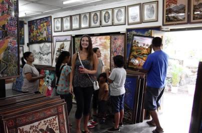 at a Batiq store in Yogyakarta